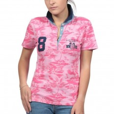 Polo femme manche courte Rugby Island Ruckfield rose