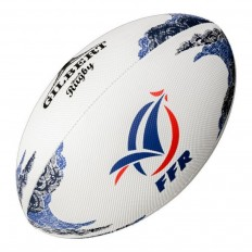 Ballon rugby beach France FFR Gilbert blanc bleu