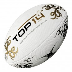 Ballon rugby beach Top 14 Gilbert blanc or