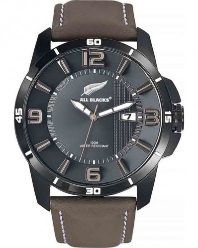 Montre bracelet cuir All Blacks Certus noir marron foncé