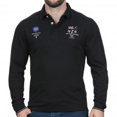 Polo homme manche longue New Zealand Test Match Ruckfield noir