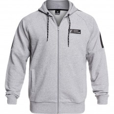 Sweat capuche zippé Pusher Rugby Division gris chiné