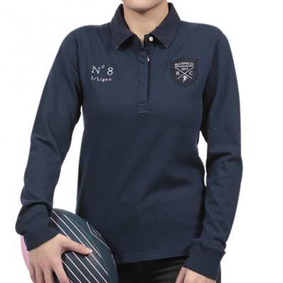 Polo femme manche longue N°8 We Are Rugby Ruckfield marine