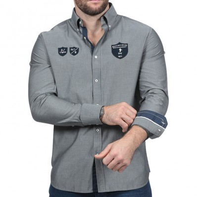 Chemise homme manche longue We Are Rugby Ruckfield gris foncé