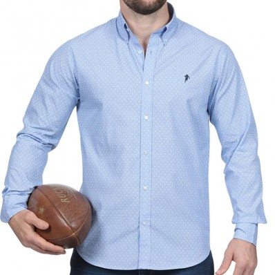 Chemise homme manche longue Rugby Essentiel Ruckfield ciel