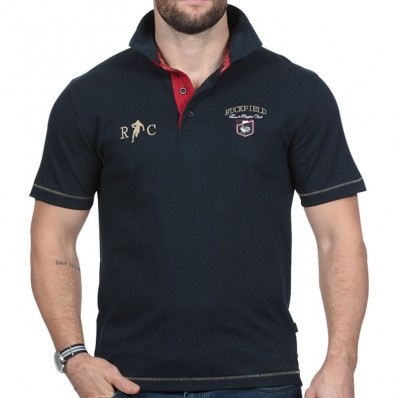 Polo homme manche courte RC French Rugby Club Ruckfield marine