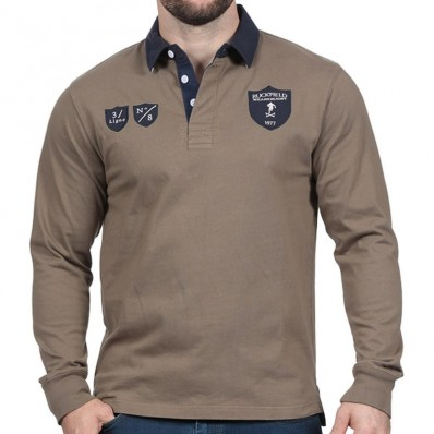 Polo homme manche longue We Are Rugby 1977 Ruckfield kaki