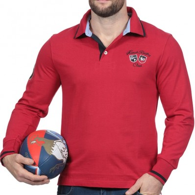 Polo homme manche longue N°8 French Rugby Club Ruckfield rouge