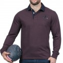 Polo homme manche longue We Are Rugby Ruckfield violet