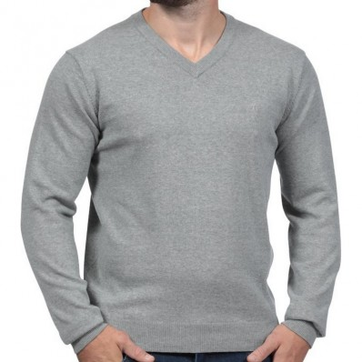 Pull col V homme Rugby Essentiel Ruckfield gris foncé