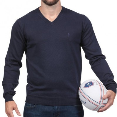 Pull col V homme Rugby Essentiel Ruckfield marine