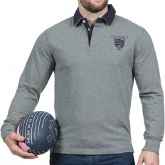Polo homme manche longue N°8 We Are Rugby Ruckfield gris