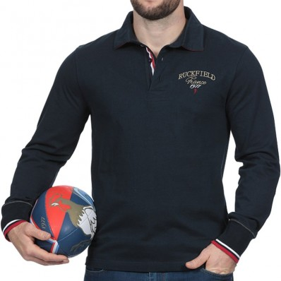 Polo homme manche longue French Rugby Club Ruckfield marine