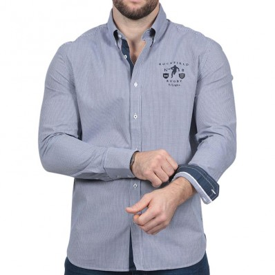 Chemise homme manche longue We Are Rugby Ruckfield bleu vichy