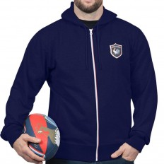 Sweat capuche zippé French Rugby Club Ruckfield marine