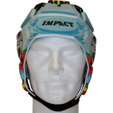 Casque rugby V2 Skull Rugbynisto Impact bleu blanc rose