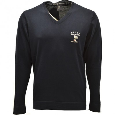 Pull homme col V France Rugby Warriors marine