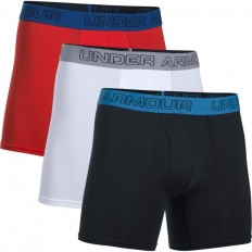 "Boxer x3 Charged Coton Stretch 6"" Under Armour noir blanc rouge"