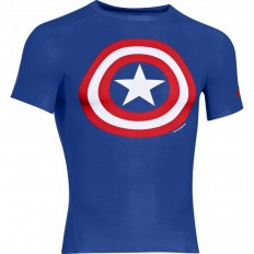 Tee shirt Captain America Compression HeatGear® SS Under Armour bleu