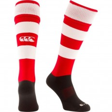 Chaussette rugby Hooped Canterbury rouge blanc