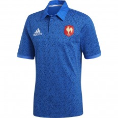 Polo FFR Supporter XV de France 2017-18 MC Adidas bleu