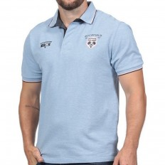 Polo homme manche courte Rugby Island Ruckfield bleu ciel