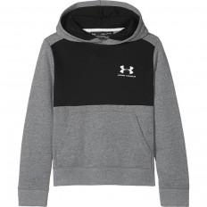Sweat capuche enfant Fleece Coton Under Armour noir gris
